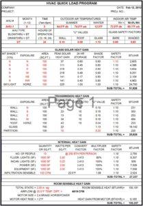 HVAC Load Calculation Worksheet
